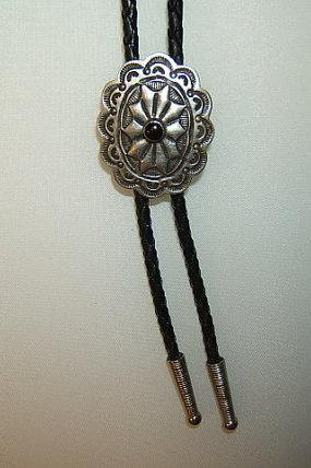 Native American Concho Bolo Tie, Silver Antique Finish, #1083B-3C