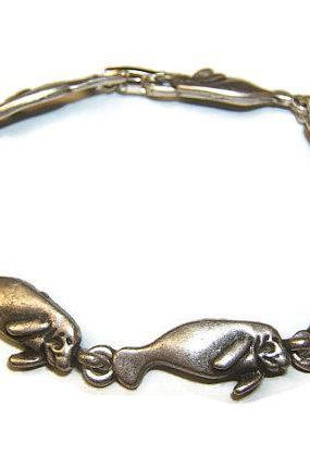 Nature Sea Life, Tropical Manatee Bracelet, Silver Bracelet, Beach Jewelry, #2018-1