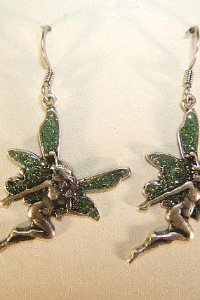 Mystical, Mythical Fairy Earrings, Silver Antique Finish, #60708-1