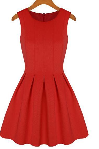 Red Short A-Line Dress Featuring Sleeveless Jewel Neck