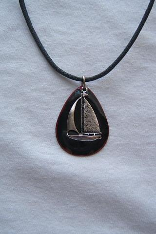 Nautical Summer Beach Sailboat Necklace, Silver Antique Finish, #80131-1
