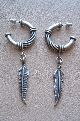 Tribal Southwestern Hoop Earrings with feathers, Western Earrings, #80125-1