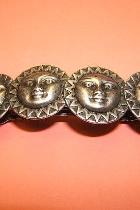 Mystical Sun Barrette in Silver Antique Finish, #60604-2