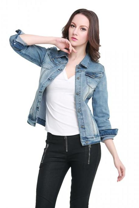 Women Double Breast Pockets Denim Jacket with Rivet Buttons
