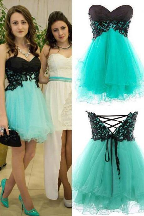 Cute Appliques And Tulle Prom Dresses, Short/Mini Prom Dresses, Graduation Dresses, A-Line Prom Dresses, Charming Lace-Up Homecoming Dresses,