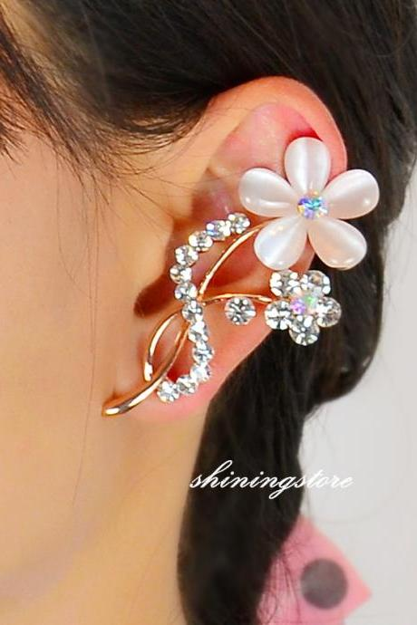 Flower Ear Cuff - Left ear - Boho jewelry,Rose gold earrings,Opal earrings,Elf ear cuff,Rhinestone earring,Gift for her unique jewelry