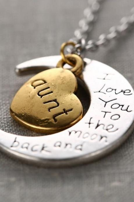 Aunt I Love You To The Moon And Back Necklace