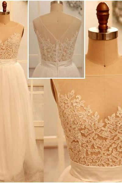 2015 New Style Round Neck Sheath Floor Length Applique Zipper Back Tulle Prom Dresses, Long Prom Dresses, Affordable Prom Dresses, Dresses For Prom, On Sale