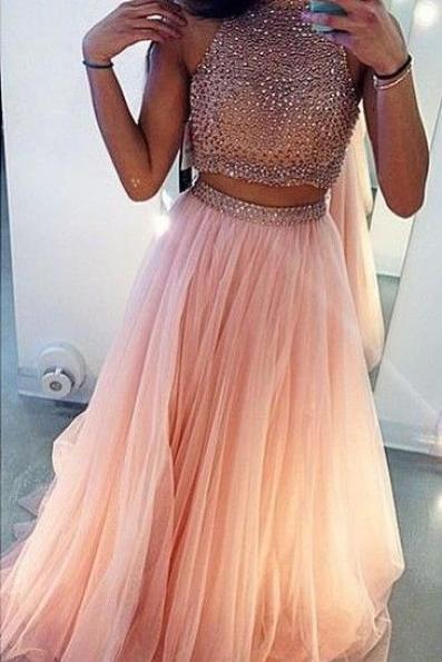 Two Pieces Prom Dresses Ball Gown High Neck With Rhinestones Beaded Mid Section Pink Tulle Prom Gown