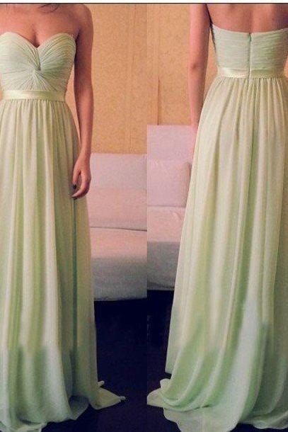 Light Green Bridesmaid Dresses, Off the Shoulder Long Prom Dresses, Chiffon Summer Dresses, Sleeveless A line Bridesmaid Gowns, Sweetheart Graduation Dresses