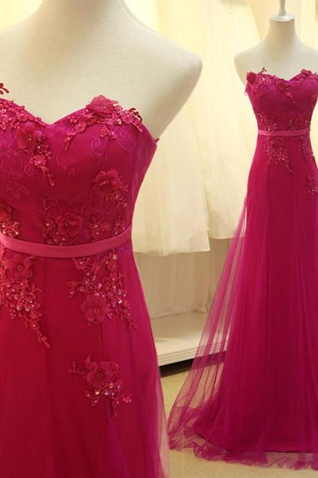 Pretty Rose-Red Chiffon Long Prom Dress with Applique, Evening Gowns , Delicate Formal Dresses