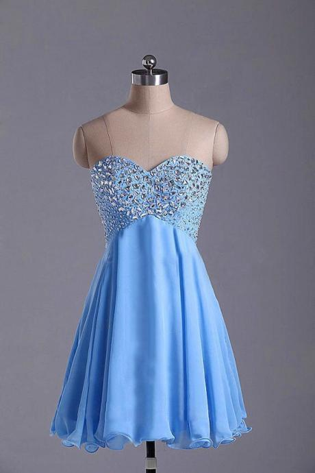 Cute Light Blue Short Beadings Prom Dresses 2015, Homecoming Dresses 2015, Graduation Dresses , Beadings Prom Dresses