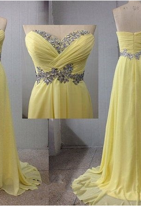 Custom Strapless Charming Yellow Beading Sweetheart Floor-length Long Chiffon Dress Prom Dress Bridesmaid Dress Evening Dress Formal Dress