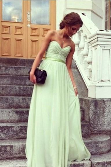 Cute and Lovely Sage A-line Sweetheart Floor Length Prom Dress,Bridesmaid Dresses,Graduation dresses