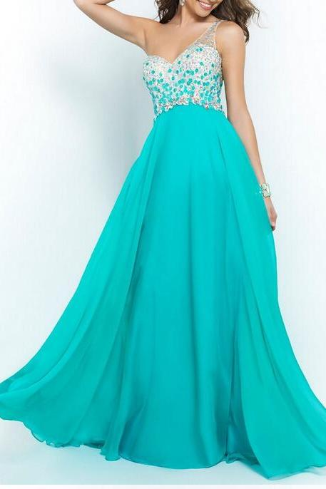 2015 Sexy Evening Dresses One Shoulder Chiffon sleeveless Party Dress Crystal Rhinestone Beading Prom Gowns Hot