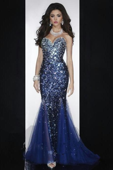 Dazzling Crystal Beaded Sequined Sweetheart Mermaid Navy Blue Prom Dress 2015 Pageant Dress Floor Length Evening Dress