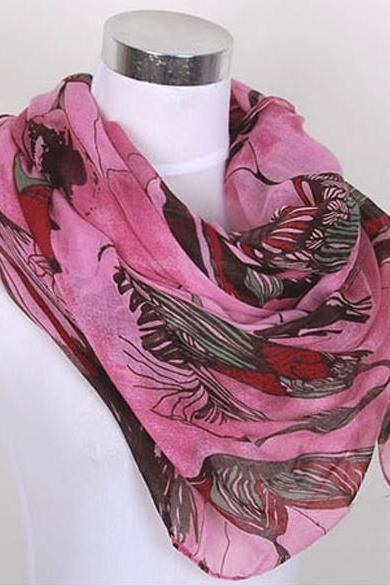 Begonia Flower ink Cotton Scarf Shawl