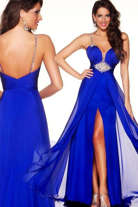 2015 Elegant Royal Blue Chiffon Beaded Evening Dress Line Halter Dress Sweetheart Formal Evening Dress
