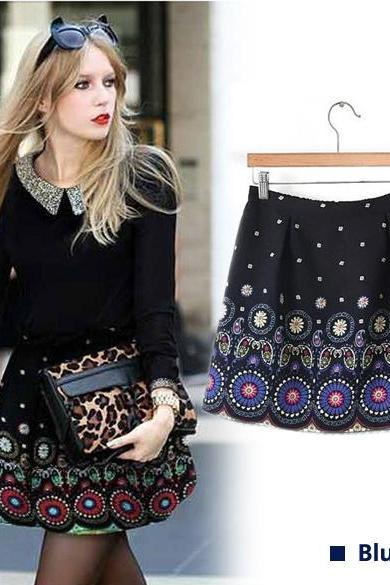 Flower Print Printed Skirt