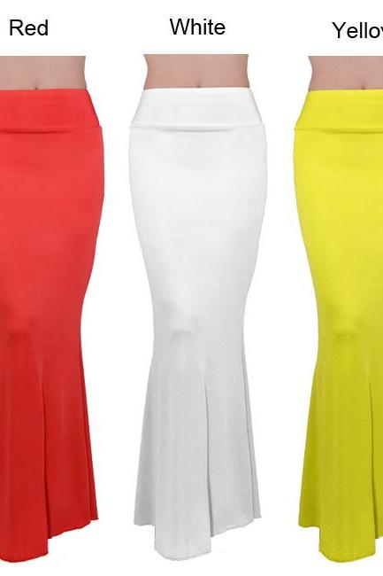 Long Foldover High Waisted Maxi Skirt
