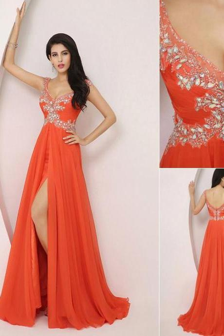 2015 New Design Chiffon Long Prom Dresses Orange Crystal Beaded Floor Length V-neck Halter Prom Dresses Evening Dresses