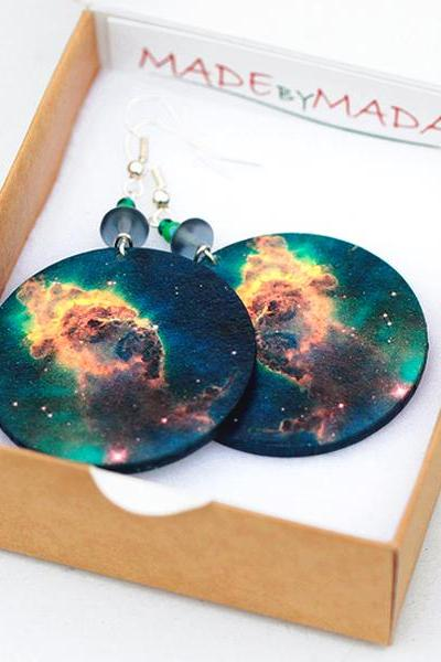Galaxy Nebula Earrings Space Dangle Round Jewelry
