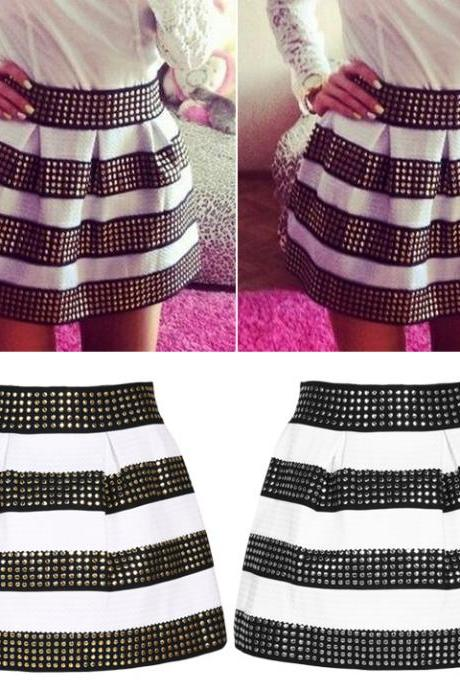 Stretch High Waist Pleat Short Skirt