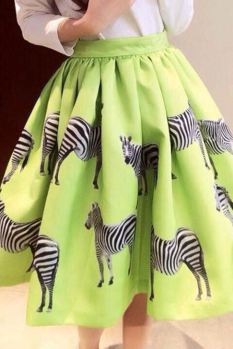 Zebra Print Pleated Mini Skirt