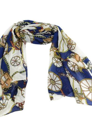 Chiffon Silk Scarf with Wheel Prints