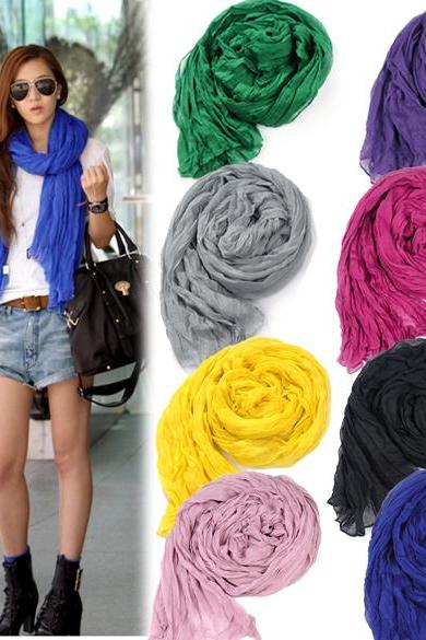 Women's Long Crinkle Scarf Wraps Soft Shawl Stole Pure Color