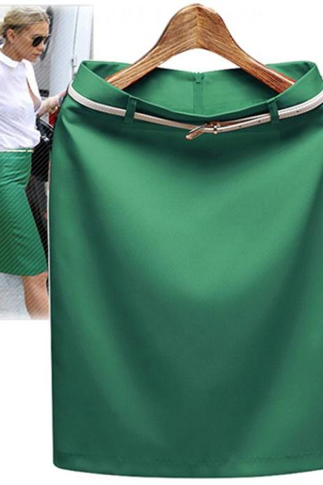 Women's Business Suit Pencil Skirt Elegant Vocational OL Skirts with Belt