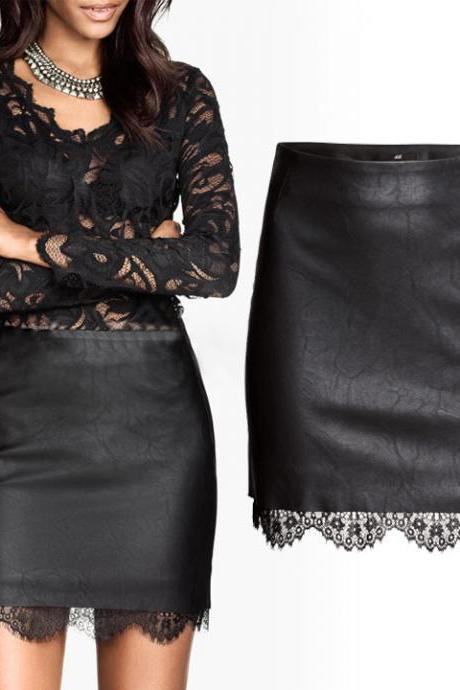 Black Faux Leather Pencil Skirt with Lace Hem