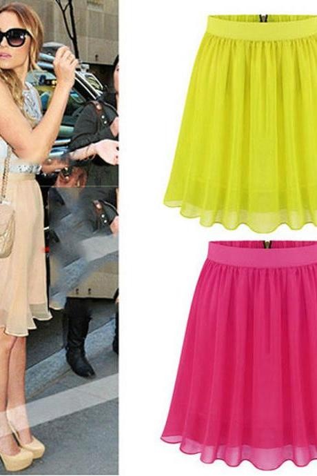 Stylish Women Ladies Medium Waist Chiffon Pleated Mini Casual Party Skirt