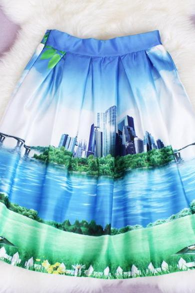 Stylish Lady Women's Fashion Casual Print Pleated Loose Knee Length Skirt