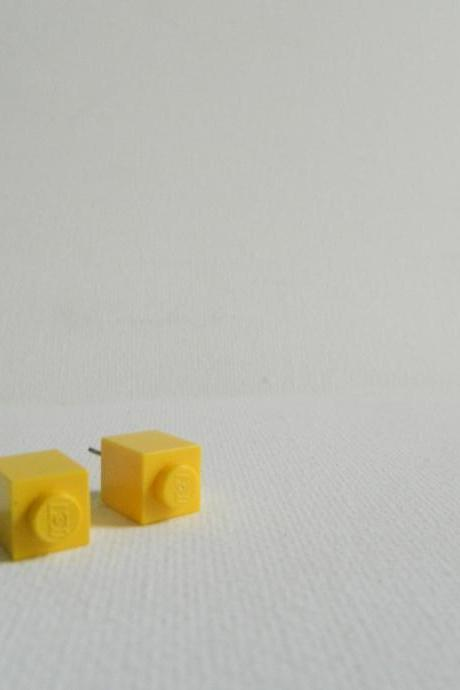Single Square Light Yellow Lego Earrings