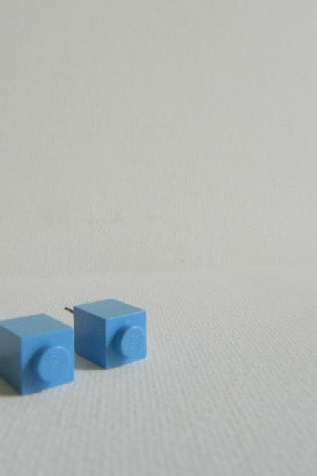 Single Square Light Blue Lego Earrings