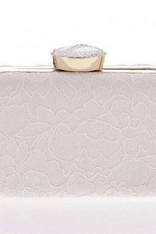Bridal Clutches White Clutch for Women Embroidery Lacy Purses for Women is Ready for Shipping
