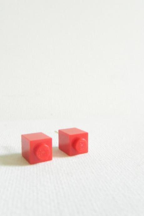 Single Square Red Lego Earrings