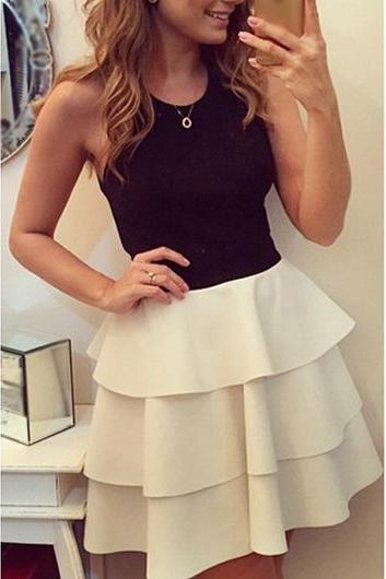 Fashion Color Block Criss Cross Back Tiered Dress
