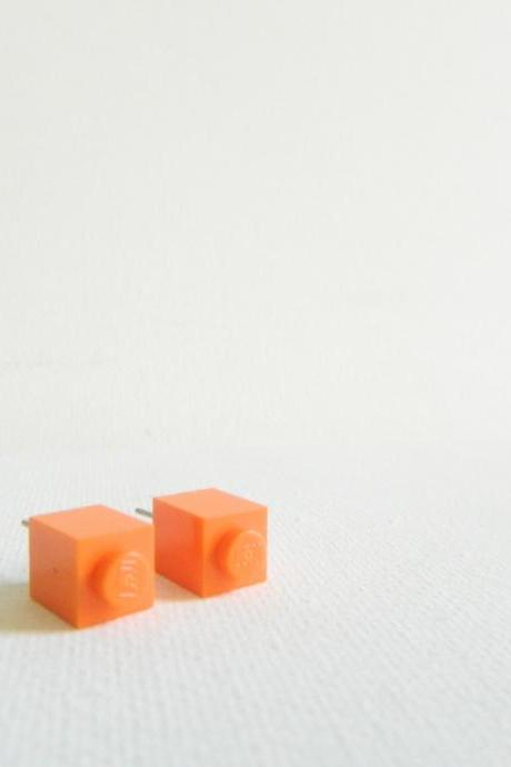 Single Square Orange Lego Earrings