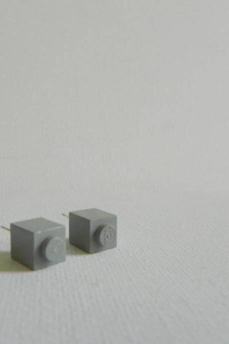 Single Square Grey Lego Earrings