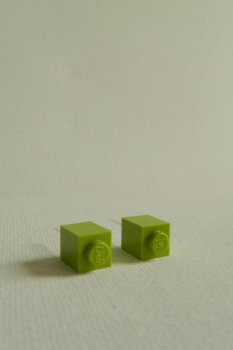 Single Square Lime Green Lego Earrings