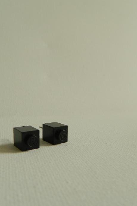 Single Square Black Lego Earrings