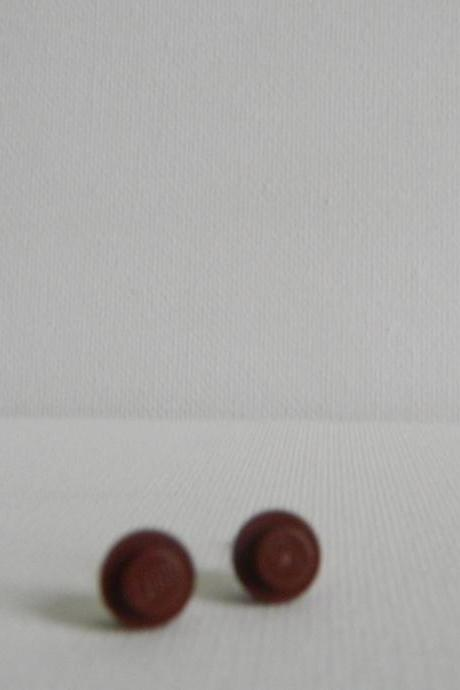 Round Brown Lego Earrings