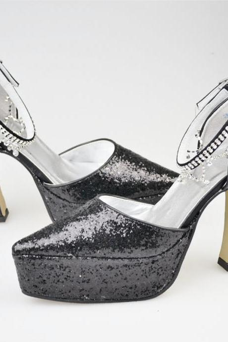 New Arrival Black Beading Bridal Wedding shoes ,Party Dress, Bridal Shoe,Woman shoes,wedding shoes