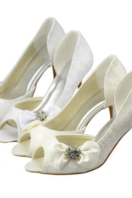 New Arrival Lace Bridal Wedding shoes with bow,Party Dress, Bridal Shoe,Woman shoes,wedding shoes