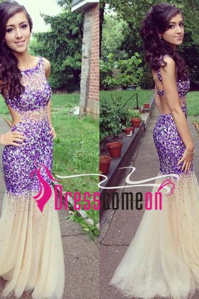 New Arrival Beading Prom Dresses, The Charming Evening Dresses, Prom Dresses, Backless Real Made Prom Dresses On Sale,