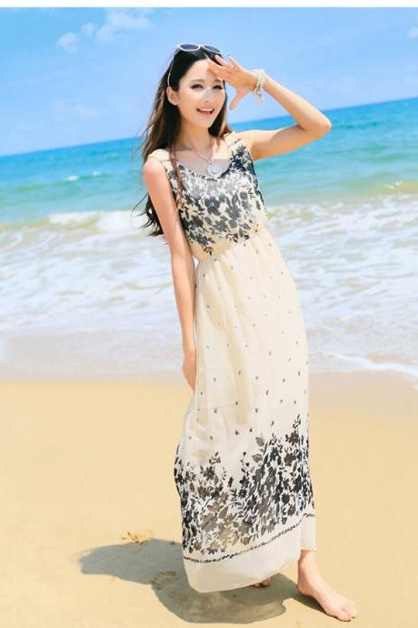 Women Boho Chic Strappy Sleeveless Beach Bohemian Print Maxi Dress