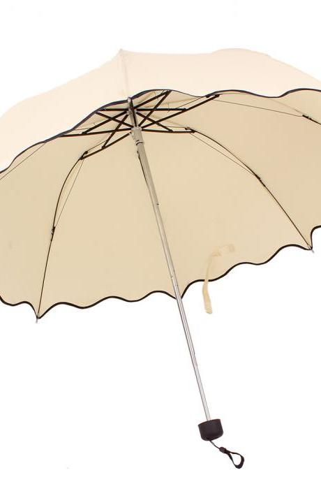 *Free Shipping* Newest Flouncing Folding Lotus Leaves Wave Princess Dome Parasol Sun/Rain Women Lady Umbrella