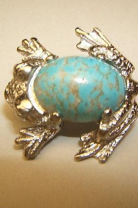 Frog Pin, Frog Brooch, Frog Jewelry, Turquoise Jewelry, #32163-2,